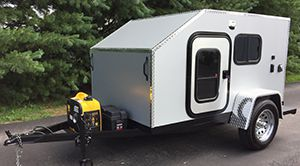 Yellow teardrop trailer