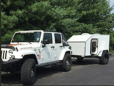 Photo of Teardrop Camper Towed by Jeep